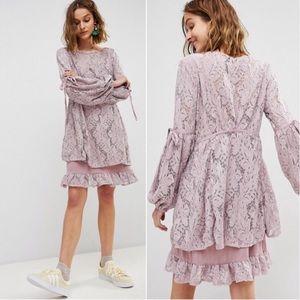 NWT Free People Ruby Mauve Long Sleeve Lace Dress